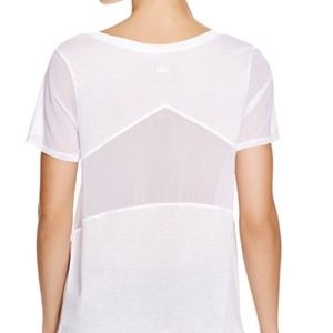 Alo Yoga Luxx White Mesh Short Sleeve Top